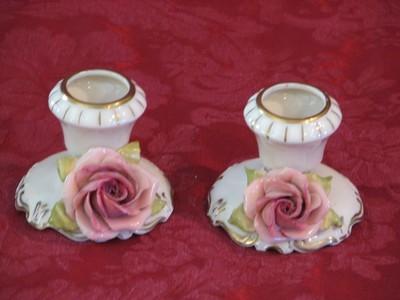 Vintage Porcelain Candle Stick Holders (2) W/Porcelain Roses