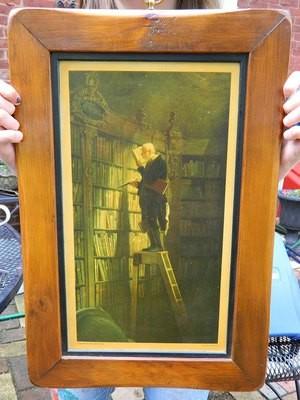 Max Jaffe print mountedin a wood frame.