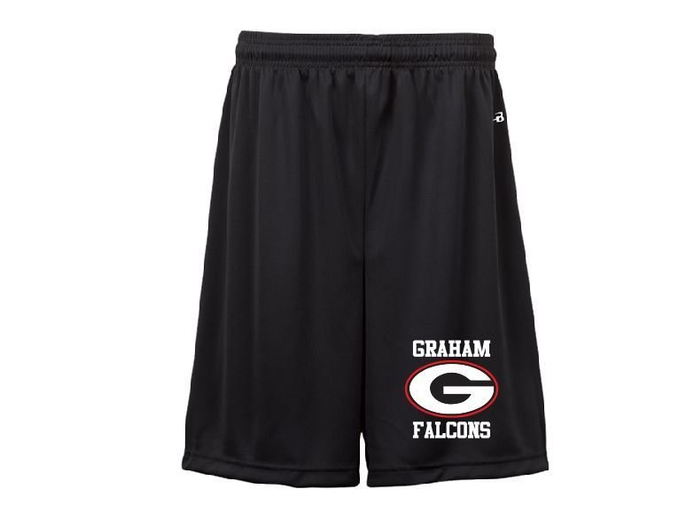 "Badger 9"" shorts w/screened logo"