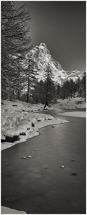 Cervino Lago Blu Alba Inverno