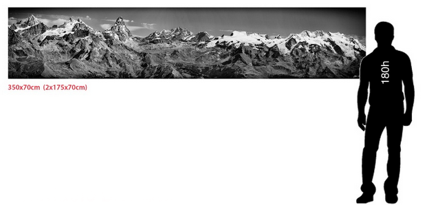 Cervino e Monte Rosa - Matterhorn-  350x70cm - trofeo Mezzalama