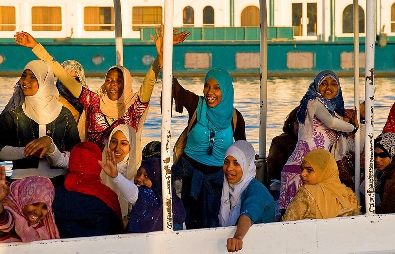 the Girls on the boat - Aswan