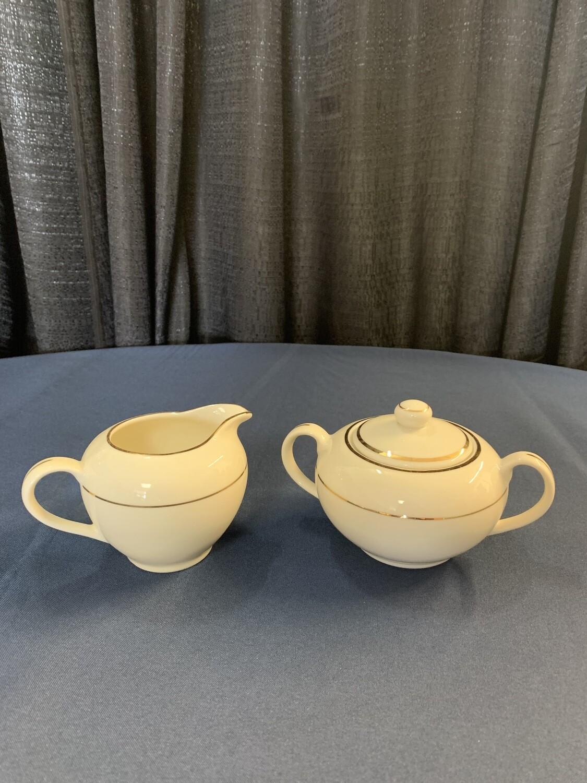 Cream Double Gold Sugar Pot and Creamer Container