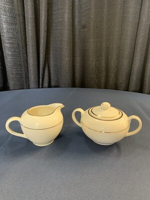 Cream Double Gold Sugar Pot and Creamer Container