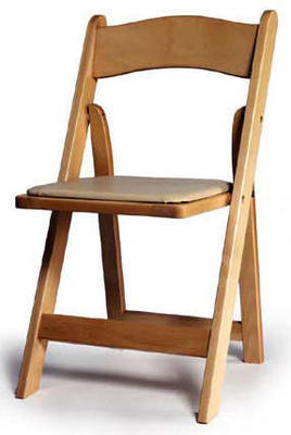 Folding Natural Wood Chair with tan seat