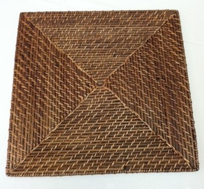 Charger Dark Brown Wicker Square