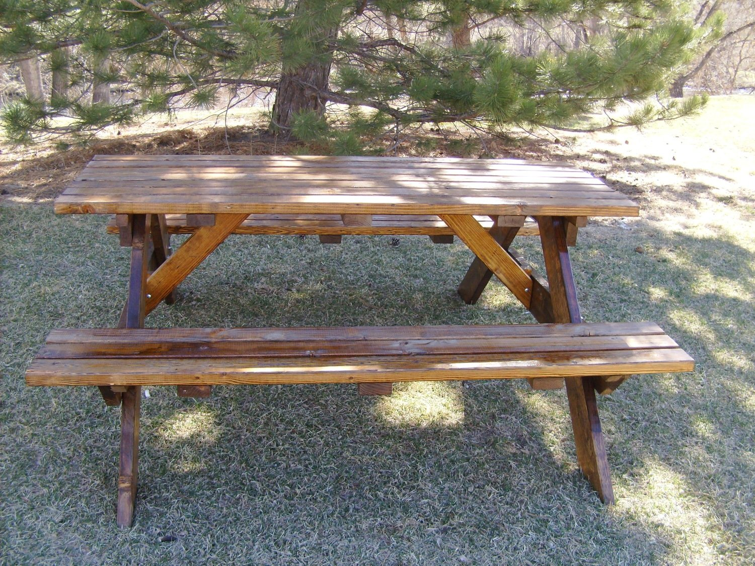 Marvelous Picnic Table With Attached Bench 6 Foot Long Ibusinesslaw Wood Chair Design Ideas Ibusinesslaworg