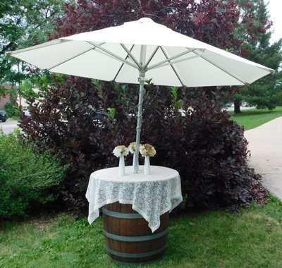 Wine Barrel Umbrella Cocktail table kit
