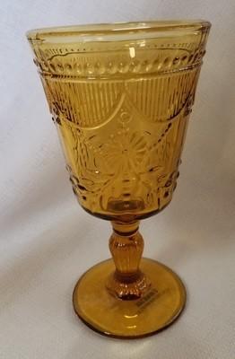 Amber Cut Glass Goblet