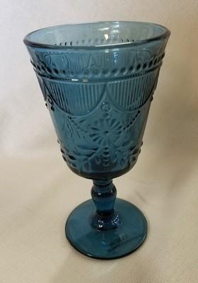 Blue Cut Glass Goblet
