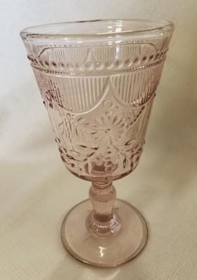 Pink Cut Glass Goblet