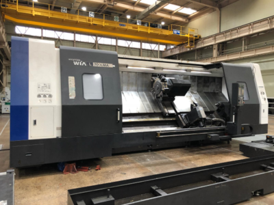 "1 – USED 41"" X 128"" HYUNDIA WIA L700LMA SLANT BED CNC LATHE WITH LIVE TOOLING"