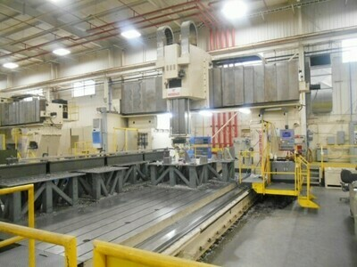 "1 – USED 328"" X 178"" RAMBAUDI 5-AXIS VERTICAL DOUBLE COLUMN TRAVELING BRIDGE GANTRY MILL WITH NUTATING MILL HEAD"