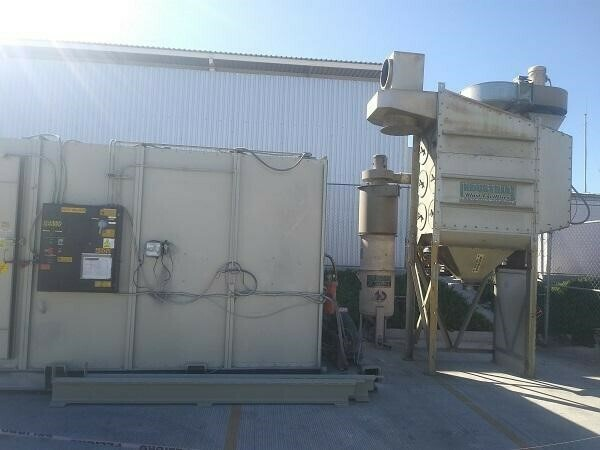 1 - USED 12' X 10' X 8' CLEMCO FLOOR MOUNTED BLAST ROOM WITH CONTROLS