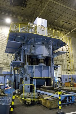 1 – USED HPM 7,000 TON HI-DRAW VERTICAL HYDRAULIC DOWN ACTING 4-POST GUIDED RAM PRESS WITH 6,300 TON CUSHION