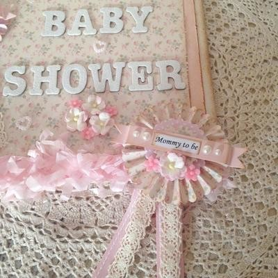 Pretty Pink Rosette Baby Shower Badge