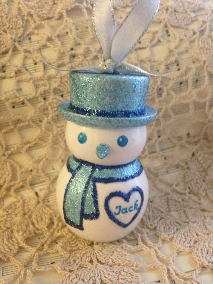 Sparkly Snowman Christmas Decoration - Blue