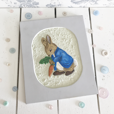 Beatrix Potter Collection ~ Hand carved Peter Rabbit Plaque