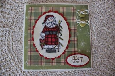 Folksy Santa Christmas Card
