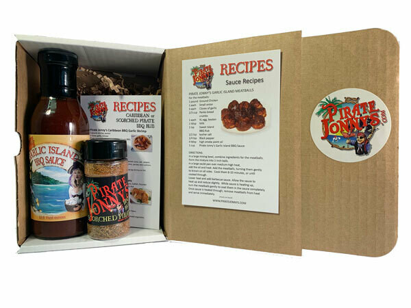 Pirate Jonny's Garlic Island BBQ Sauce and Scorched Pirate Gift Set