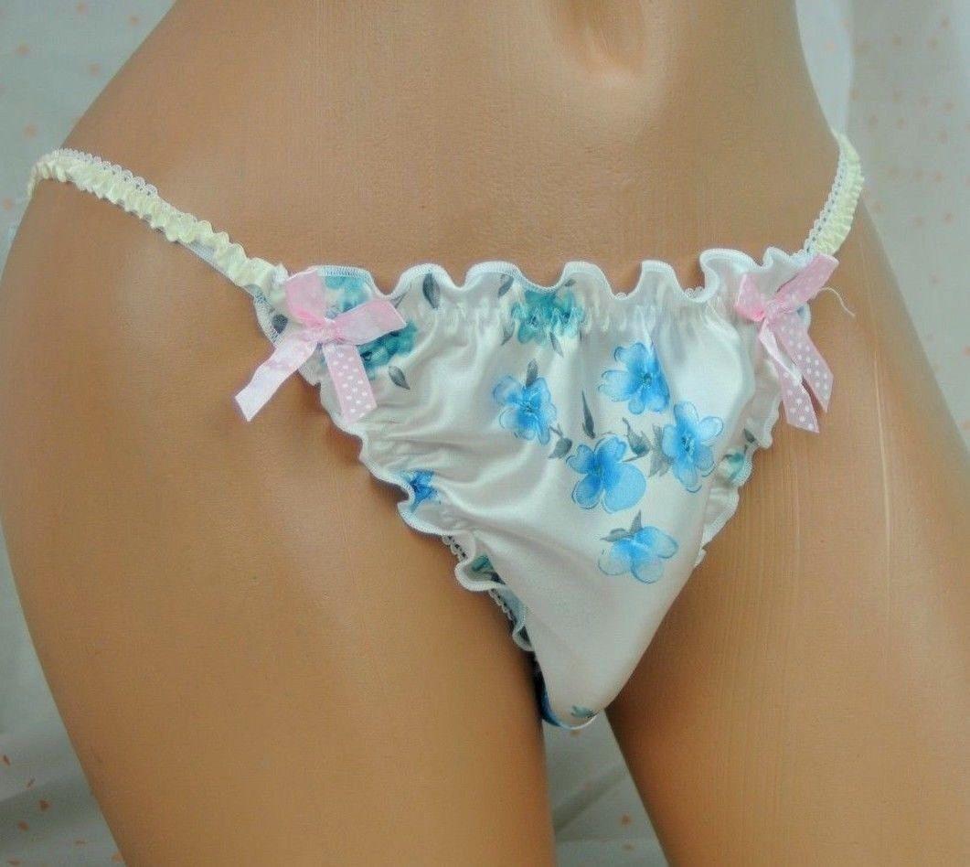 Anias Poison satin Frilly Ruffled Butt Sissy Mens string bikini cross dresser panties wholesale lot of 10 MANTIES - Many colors