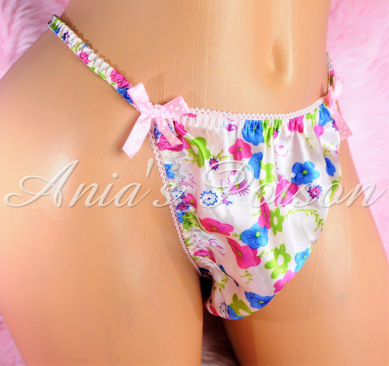 Sissy Silky Mens Satin Panties in Floral pastel new Spring Print String bikini underwear