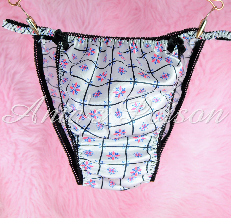 Sissy Silky Satin Mens Panties in Black Pink White Retro Print String bikini underwear 00227