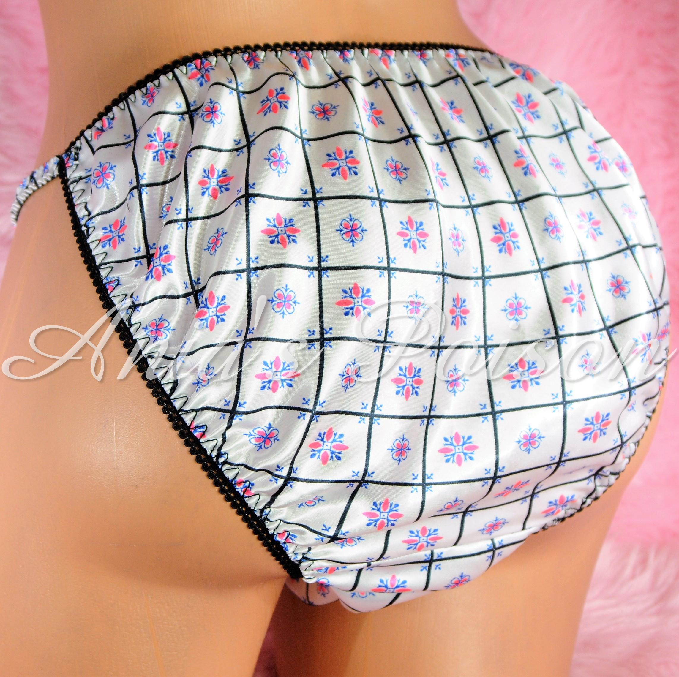 Sissy Silky Satin Mens Panties in Black Pink White Retro Print String bikini underwear