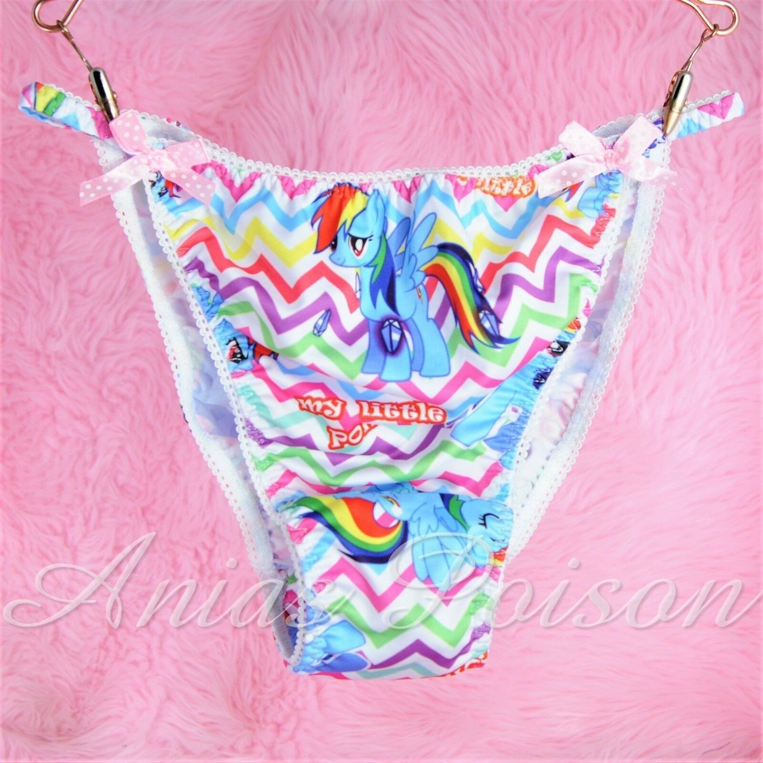 Rare Novelty Character print Spandex Stretch string bikini Rainbow Dash Ponies Princess Panties