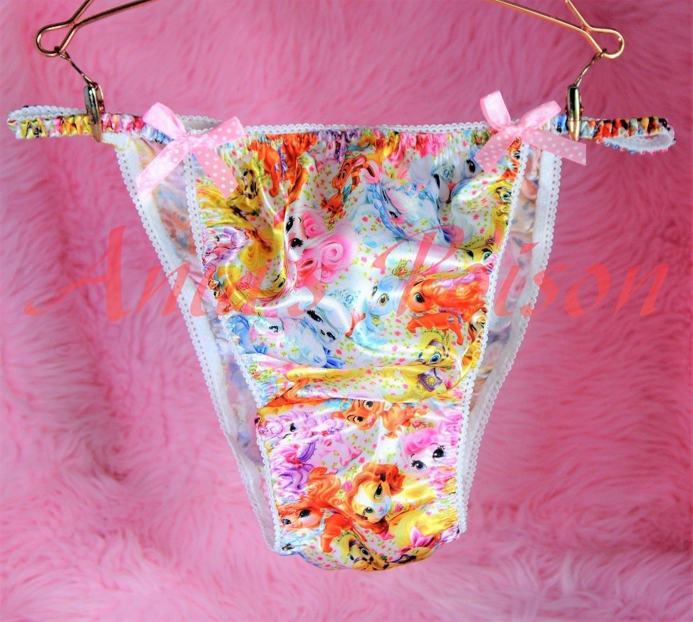 Ania's Poison Princess Puppies Girly Prints Super Rare 100% polyester SATIN string bikini sissy mens underwear panties