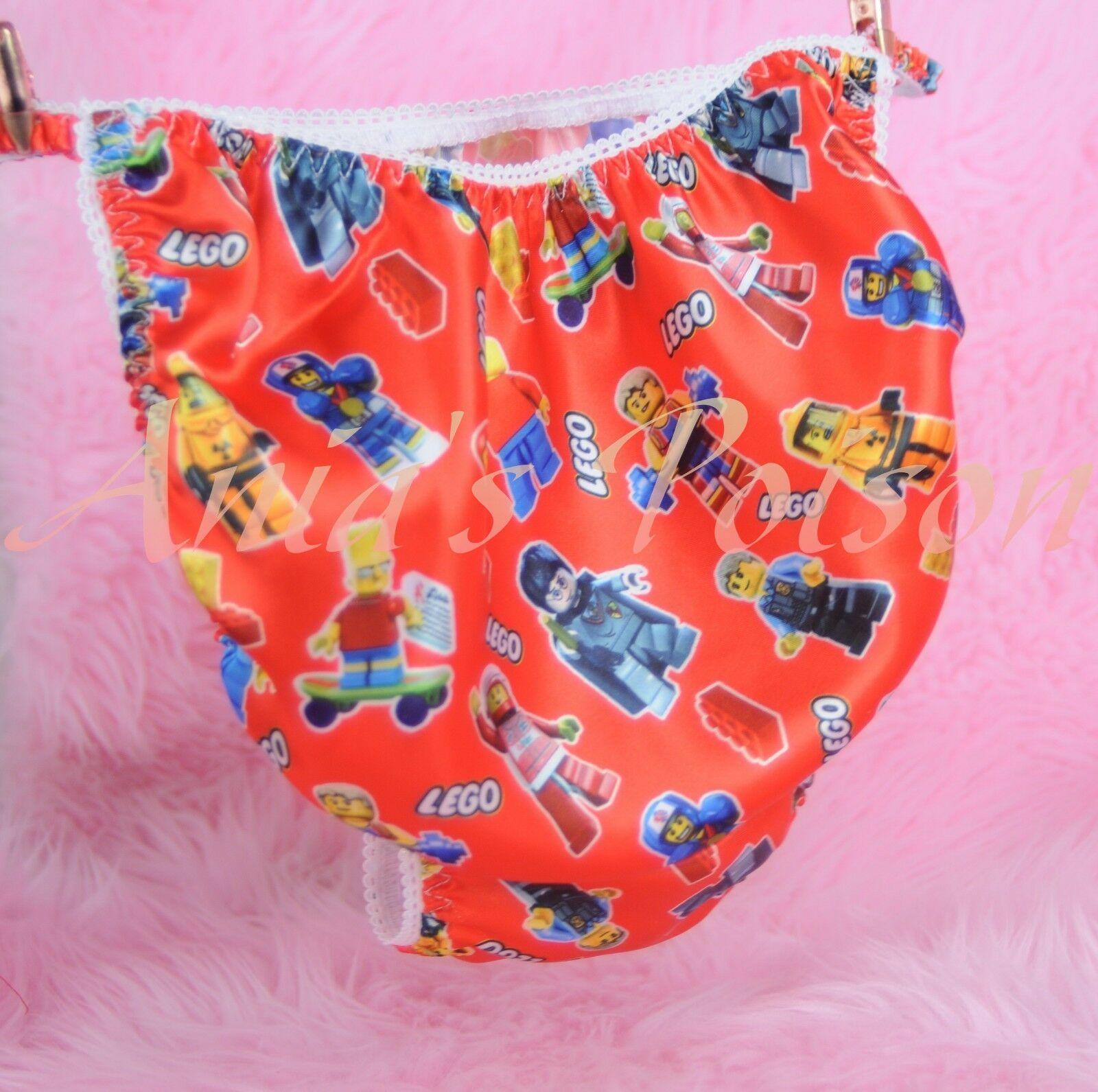 Ania's Poison build Blocks Character RED Print Super Rare 100% polyester SATIN string bikini sissy mens underwear panties