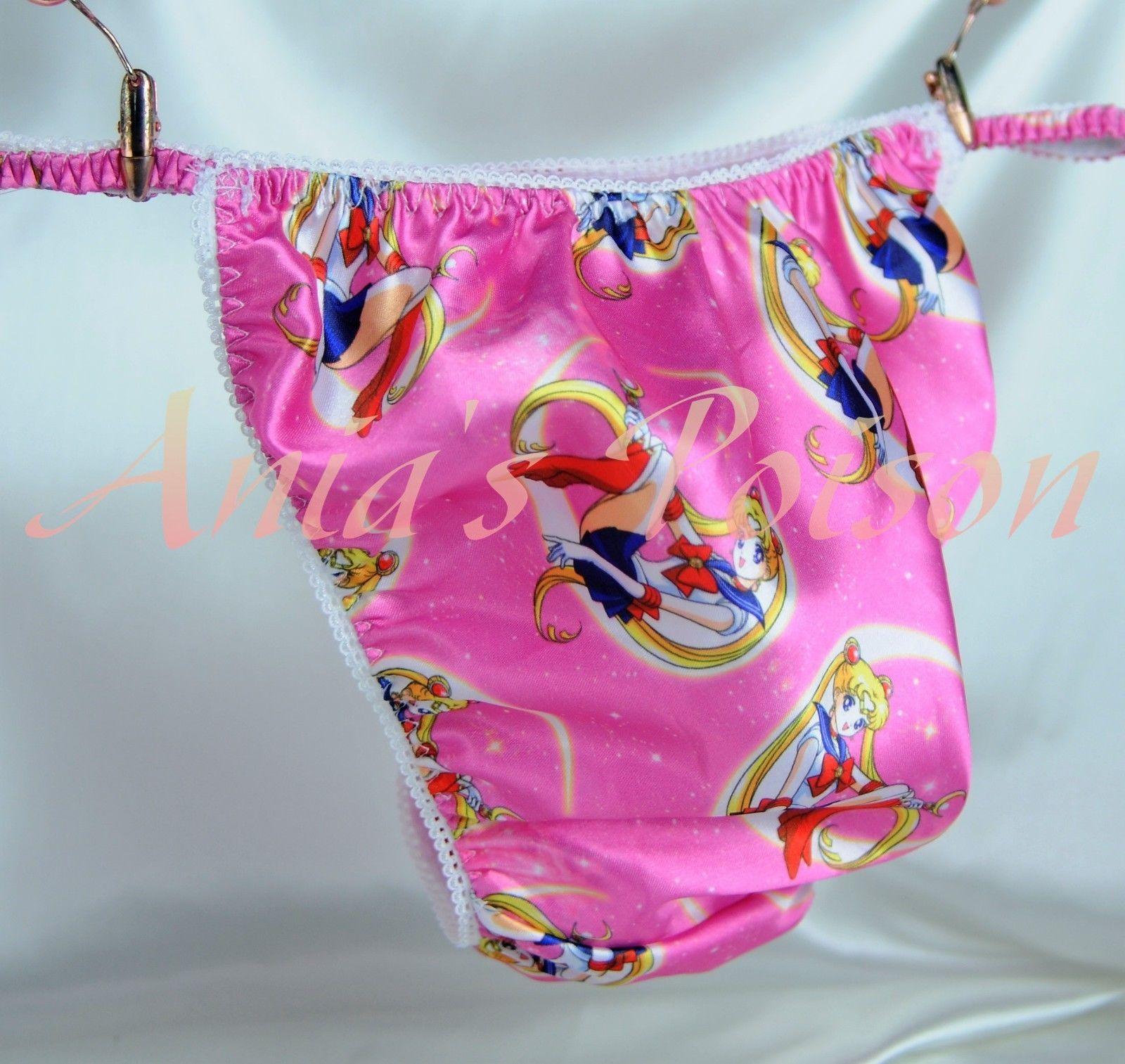 Ania's Poison Pink Sailor Moon Anime Print Super Rare 100% polyester SATIN string bikini sissy mens underwear panties
