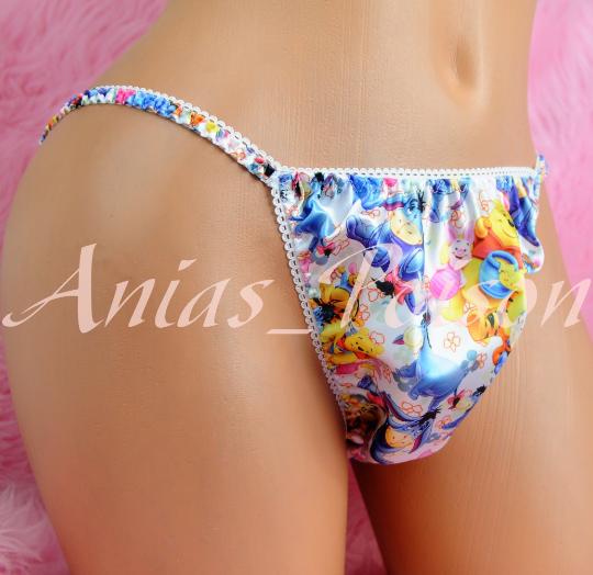 Ania's Poison Little Bear POOH Pig Donkey Print Super Rare 100% polyester SATIN string bikini sissy mens underwear panties 00241
