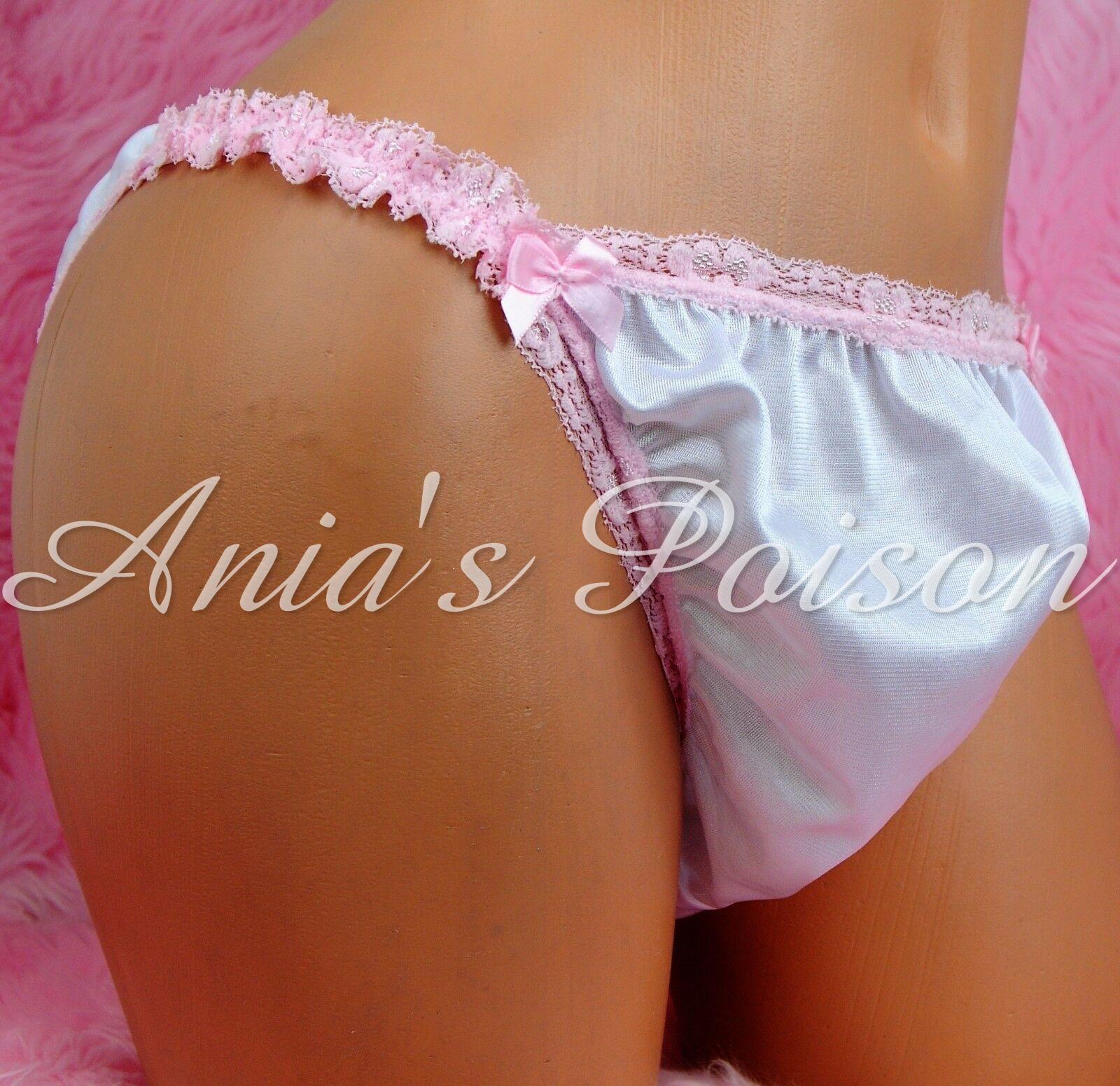 Sissy Men's Antron Nylon Silky Smooth pink lace trim bridal Maid string bikini panties 00265