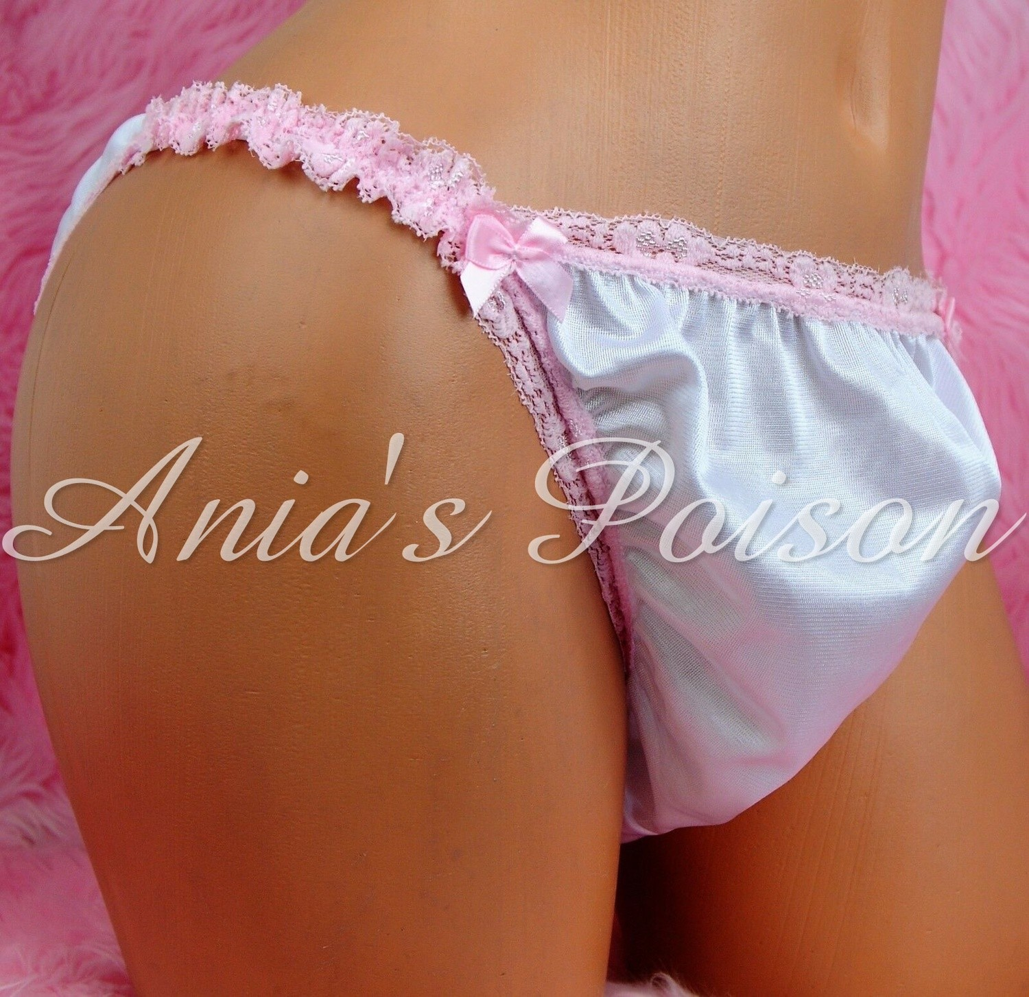 Sissy Men's Antron Nylon Silky Smooth pink lace trim bridal Maid string bikini panties