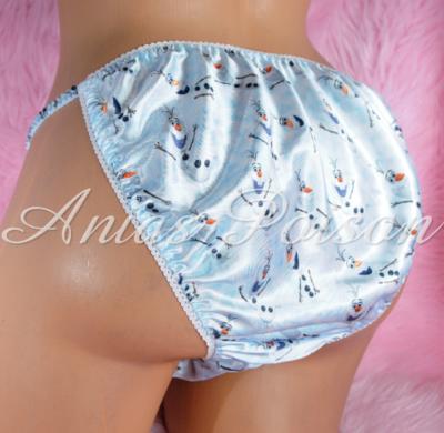 Ania's Poison Frozen Snowman Princess Print Super Rare 100% polyester SATIN string bikini sissy mens underwear panties