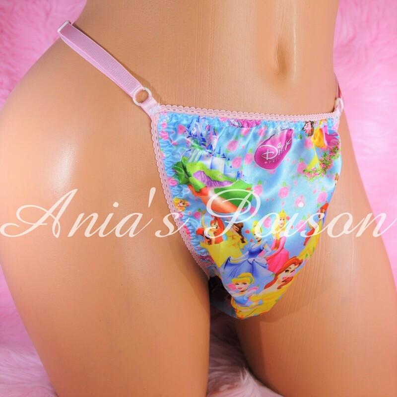 sissy thong Character print SATIN sissy men's soft shiny Triangle T thong panties ADJUSTABLE sides underwear panties