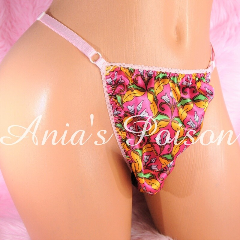 sissy thong FLORAL SATIN sissy men's soft shiny Triangle T thong panties ADJUSTABLE sides underwear panties