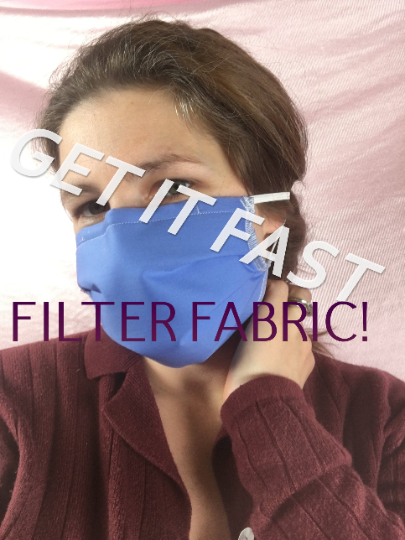 Face Mask with Built In Filter 3 Layer waterproof Virus PROTECTION made with nose wire, in USA, washable and reusable - Halyards pleated mask