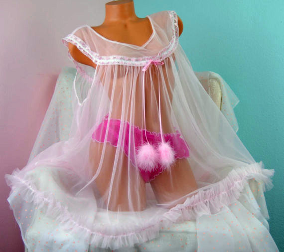 Vintage style All Antron chiffon nylon sissy sheer night gown Peignoir MINI OS L XL 0048