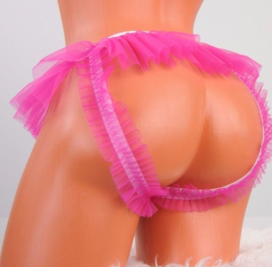 SISSY MANties Humiliation fetish Super frilly sissy Chastity belt decorator open hole open butt Slave panties knickers OS