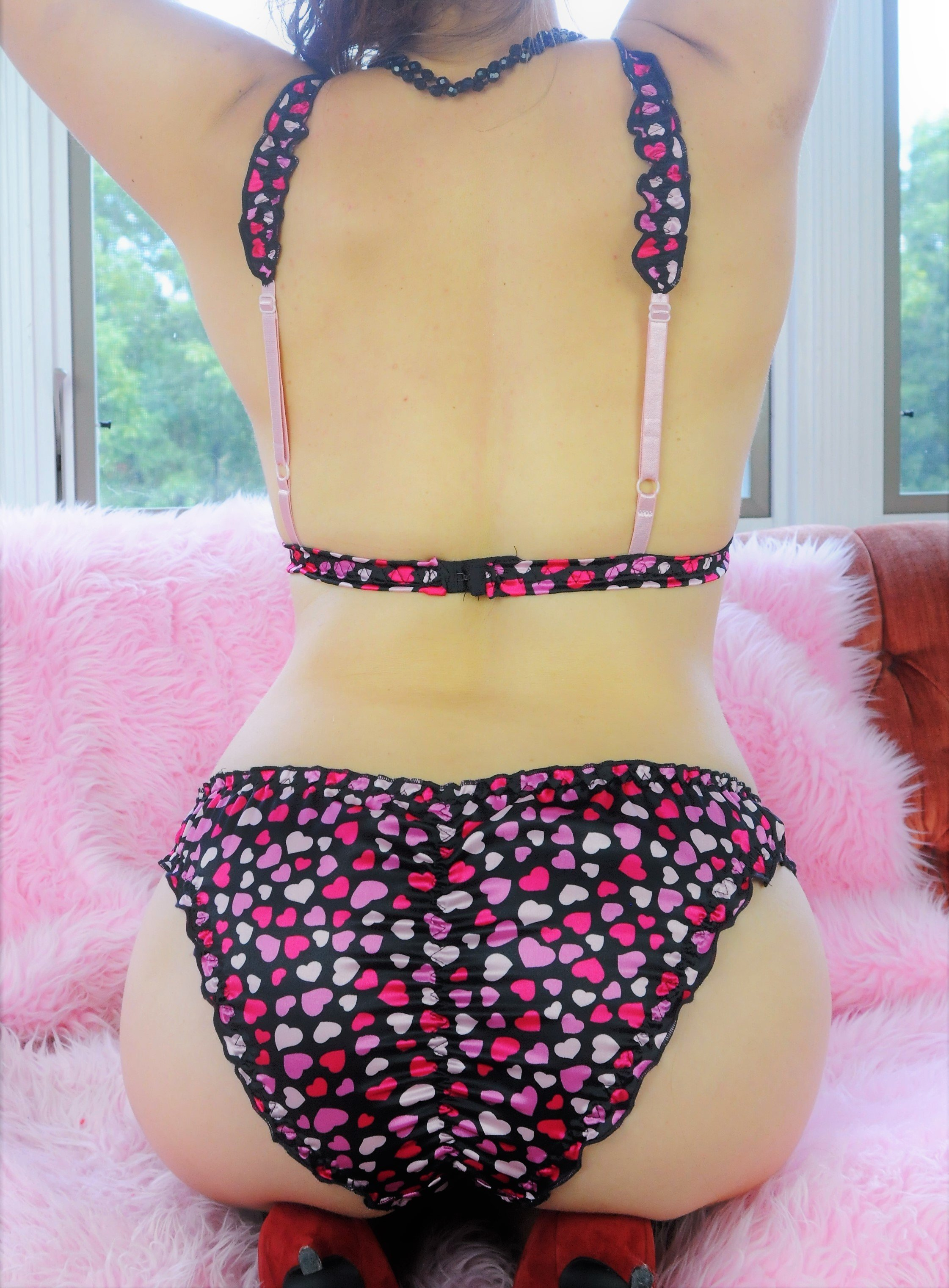Ania's adorable Bralette and Panties SATIN Heart Print Valentines day set S - XL