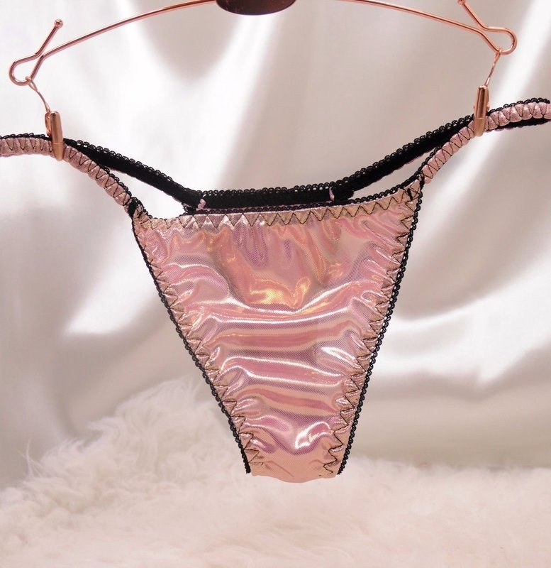 VTG sissy metallic foil string LADIES triangle T thong metallic panties S/M LXL
