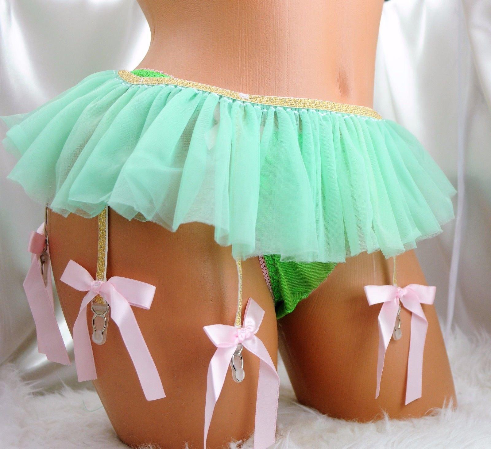 Stunning tutu skirt lacy sissy bridal 6 strap garter belt  for Men or Women 0041