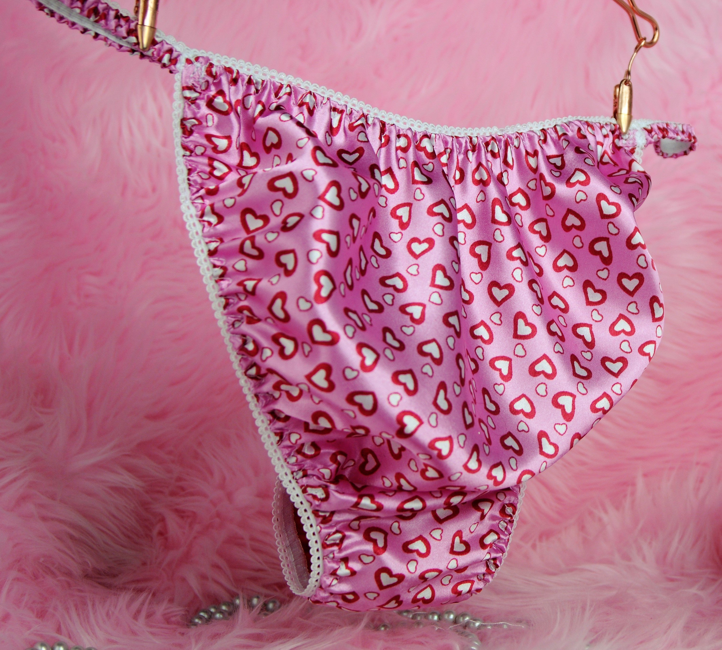 Ania's Poison MANties S - XXL Valentine's Day hearts Pink or Red 100% polyester string bikini sissy mens underwear panties