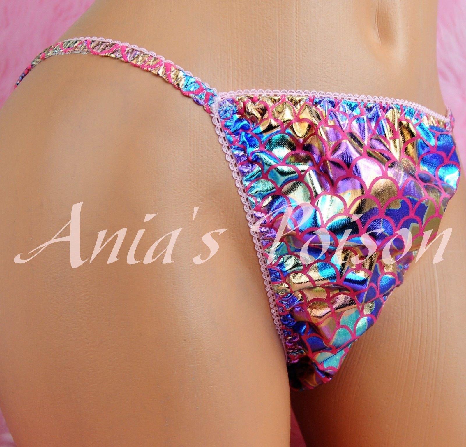 Anias Poison MANties S M L XL XXL metallic shiny FOIL Scaly Mermaid string bikini sissy mens Dancer panties