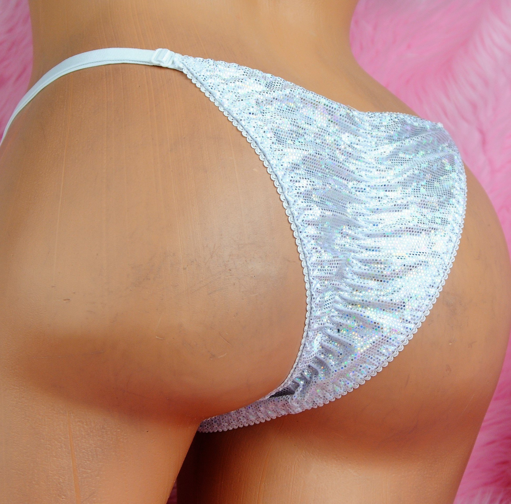 Ania's Cheeky SPANDEX SPARKLE naughty Brazilian Exotic dancer stripper panties with adjustable sides!