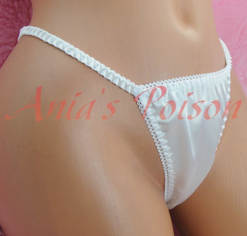 VTG style shiny satin string LADIES triangle T thong metallic panties S/M LXL