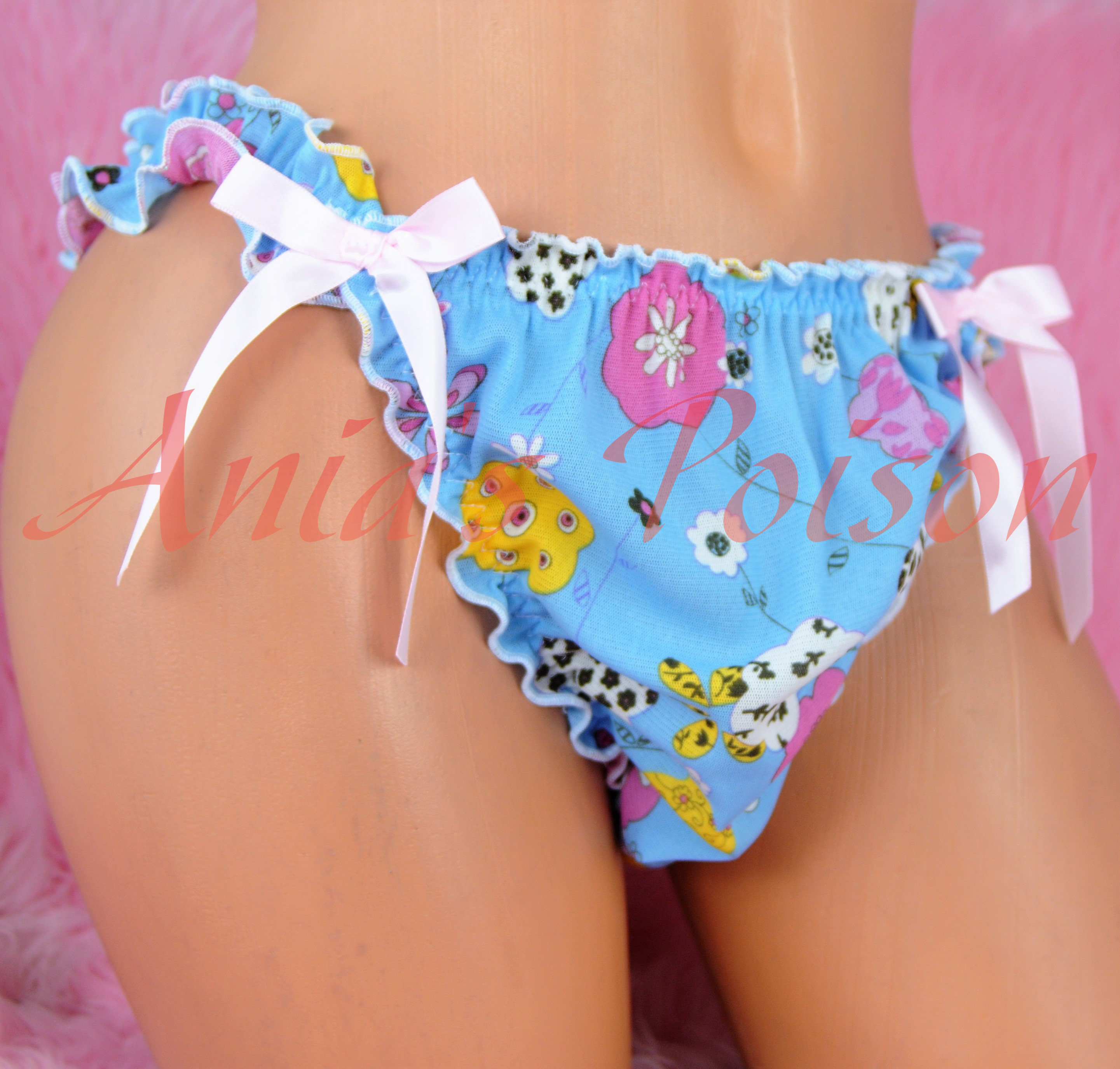 MANties  S M L XL XXL Girly floral Mesh stretch Ruffled string bikini sissy mens panties 00172