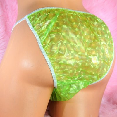 ALL PURE printed floral plastic string bikini sissy mens  panties in  - S M L XL XXL Many colors to choose
